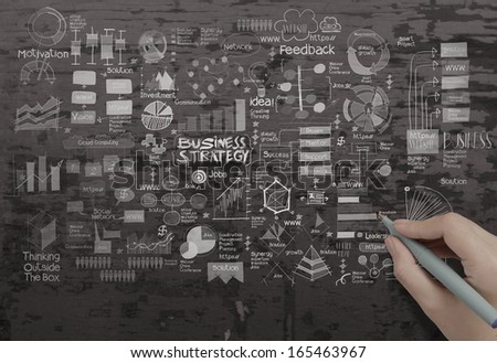 hand drawing creative business strategy on texture background as concept - stock photo
