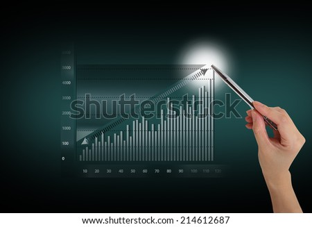 hand drawing graph - stock photo