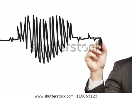 hand drawing heartbeat on a white background - stock photo