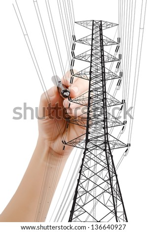 Hand Drawing High voltage power pole line for construction concept. - stock photo