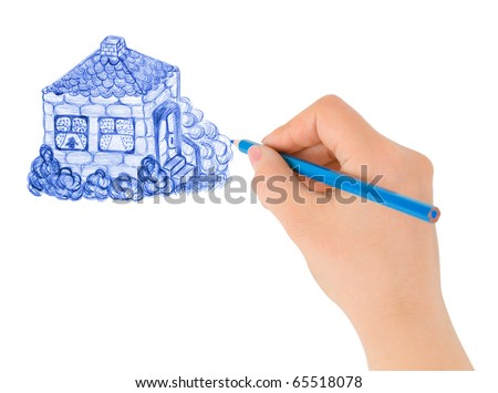 Hand drawing house (my original picture) isolated on white background - stock photo