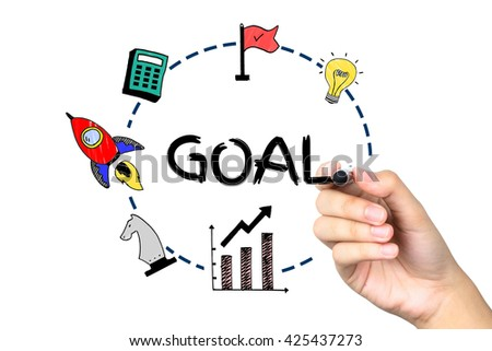 "Hand Drawing Icons and Elements of ""Setting up GOAL"" on White Background (Business Concept) - stock photo"