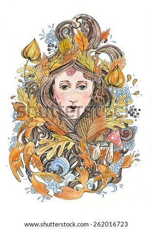 Hand drawing illustration with  woman face in autumn sheets, fishes. Beautiful portrait young girl in the image of autumn. developing hair, hairstyle with flowers, fashionable image for a magazine     - stock photo
