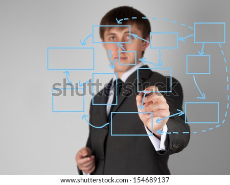 hand drawing in a whiteboard - stock photo