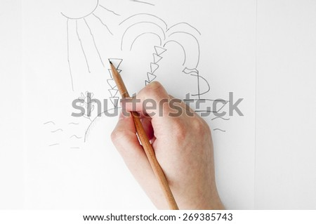 Hand drawing journey picture - stock photo