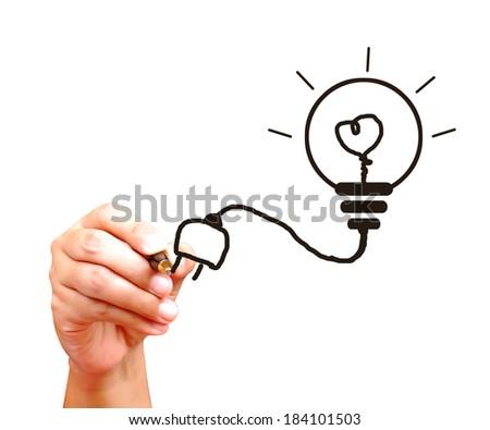 Hand drawing light bulb - stock photo