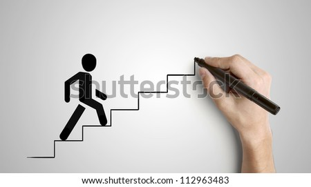 hand drawing man climbs ladder - stock photo