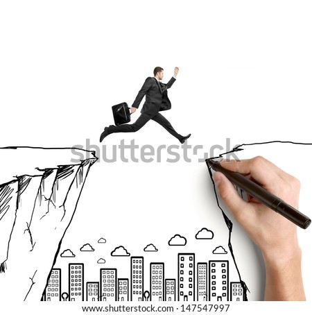 hand drawing man jumping  from rock to rock - stock photo