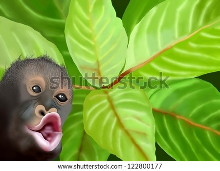 Hand Drawing of A Cute Chimpanzee on Beautiful Leaves Background, Take for Postcard or Note Paper - stock photo