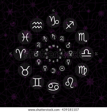 hand drawing of accurate horoscope illustration - zodiac wheel with ancient ruling planet symbols on whimsical starry background - stock photo
