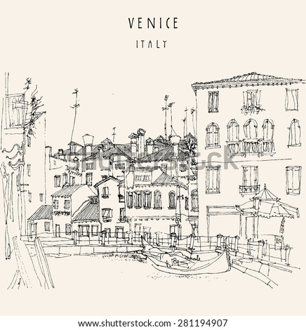 Hand drawing of Canareggio, Venice, Italy with a gondola. Vintage hand drawn engraved illustration with hand-drawn title words. Retro style postcard template - stock photo