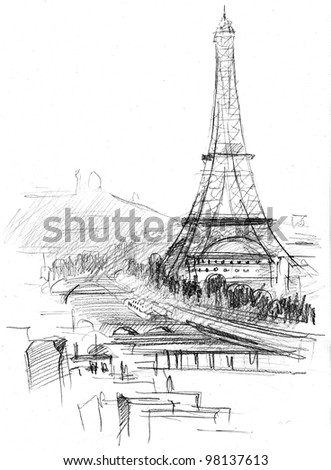 hand drawing of Eiffel tower in Paris - stock photo