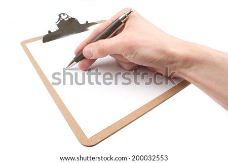 Hand drawing on an empty paper in sketch pad (clipboard) isolated on white - stock photo