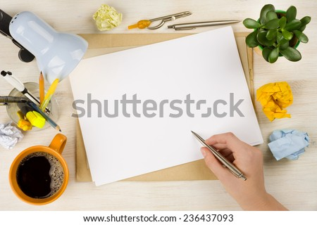 Hand drawing on paper. Business creation or brainstroming concept - stock photo