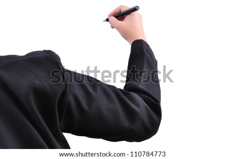 Hand drawing on white background with clipping path - stock photo