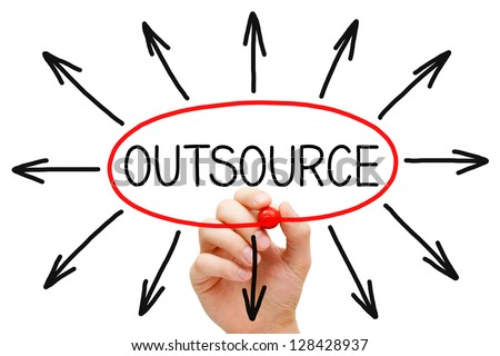 Hand drawing Outsourcing concept with red marker on transparent wipe board. - stock photo