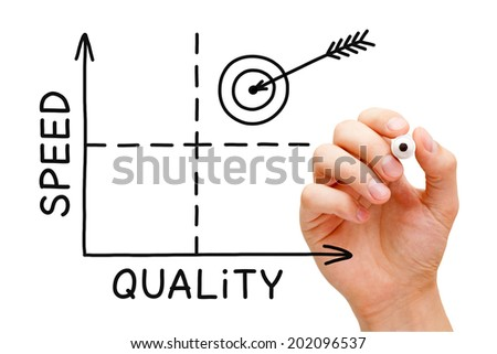 Hand drawing Quality-Speed graph with black marker on transparent wipe board. - stock photo