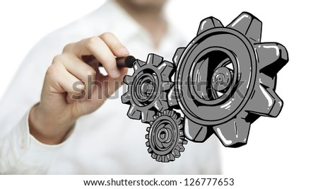 hand drawing red gears on white background - stock photo