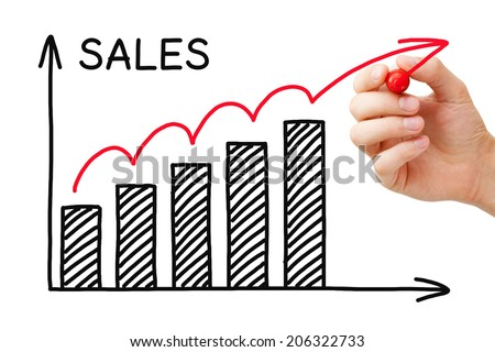 Hand drawing Sales Growth Graph with marker on transparent wipe board. - stock photo