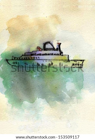 Hand drawing ship on the sea. Original watercolor painting. - stock photo