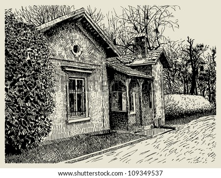 hand drawing sketchy artistic village landscape composition with old building. Raster version - stock photo