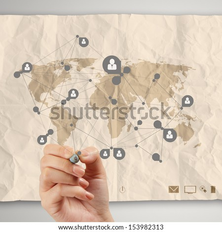 hand drawing social media icon with crumpled recycle paper background as concept - stock photo