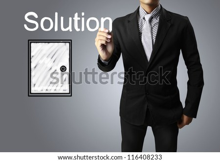 Hand drawing Solution  in whiteboard - stock photo