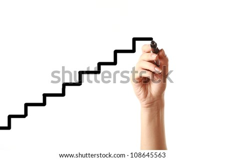 Hand drawing stairs with black marker - stock photo