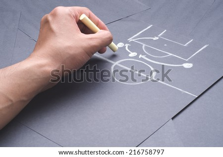 Hand drawing the attacking strategy for football game with chalk on the black project paper - stock photo