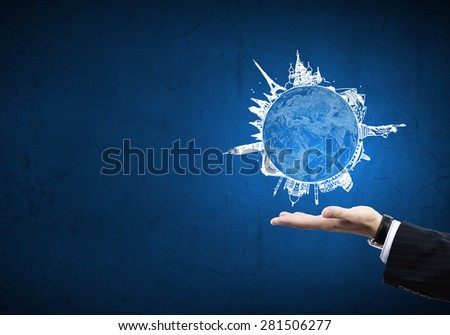Hand drawing traveling around the world concept - stock photo