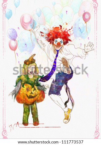 hand drawing using digital tablet (this is drawing on a white canvas) - happy girl and lucky clown - stock photo