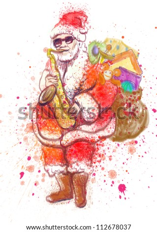 hand drawing using digital tablet (this is the original colored drawing / sketch) - - colored sketch bearded Santa Claus playing the saxophone - stock photo