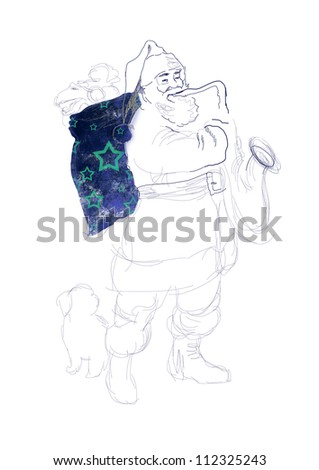 hand drawing using digital tablet (this is the original drawing / sketch) - - sketch bearded Santa Claus playing the saxophone (with white dog at his feet) - stock photo
