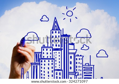 Hand drawing with marker sketches of construction project on sky background - stock photo