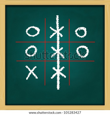 hand drawing X and O game on grunge green chalkboard - stock photo