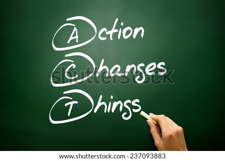 Hand drawn Action Changes Things (ACT), business concept acronym on blackboard - stock photo