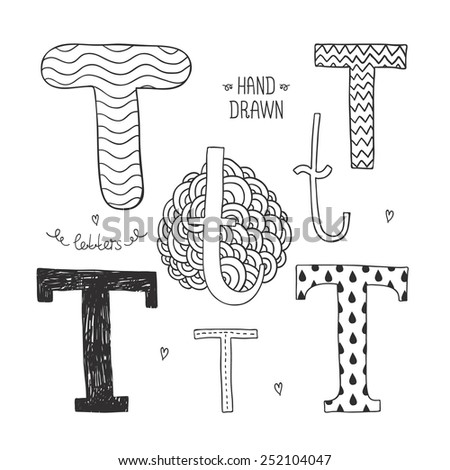 Hand drawn alphabet, letter t. Doodle letters set isolated on white background - stock photo