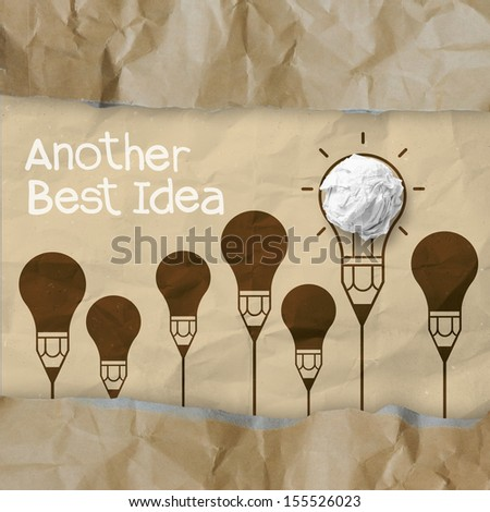 hand drawn another idea light bulb with recycle envelope background as creative concept - stock photo