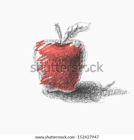 hand drawn apple. Jpeg version. - stock photo