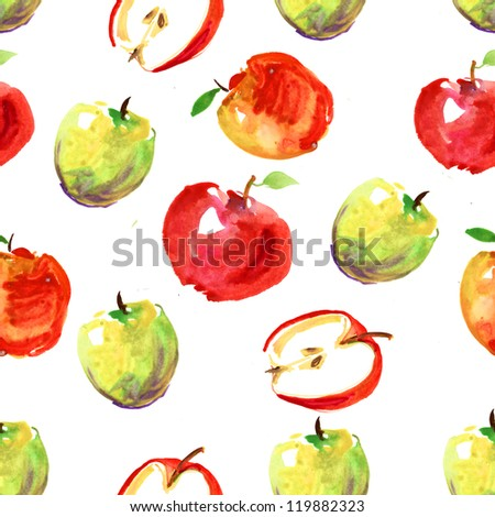 hand drawn apples watercolor pattern - stock photo