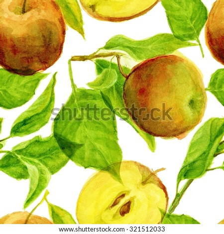 Hand drawn apples watercolor seamless pattern #1 - stock photo