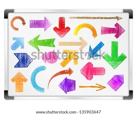 Hand drawn arrows on whiteboard - stock photo