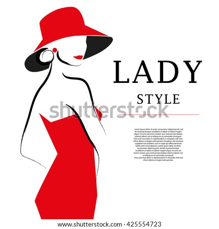 Hand drawn artistic flat young stylish girl in hat portrait. Fashion lady model sketch. Woman silhouette isolated on white background. Glamour, beauty illustration. - stock photo