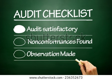 Hand drawn Audit checklist, business concept on blackboard - stock photo