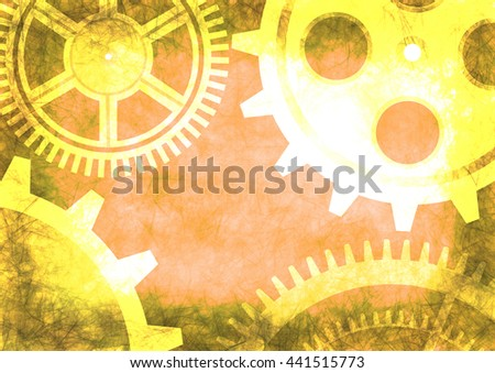 Hand drawn background with gear wheel. Abstract grunge background with mechanism of watch. Texture with cracks, ambrosia, scratches, attrition. Series of Drawn Grunge, Oil, Pastel, Chalk Backgrounds. - stock photo