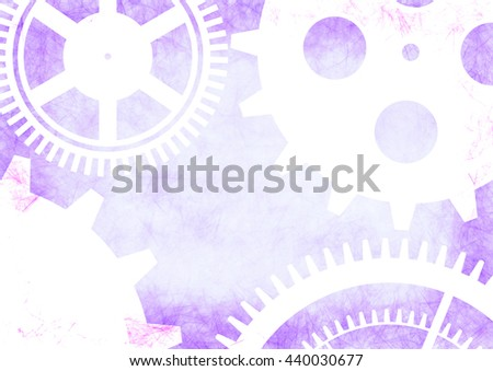 Hand drawn background with gear wheel in blue and white colors. Abstract grunge background with mechanism of watch. Series of Drawn Grunge, Oil, Pastel, Chalk and Inc Backgrounds. - stock photo