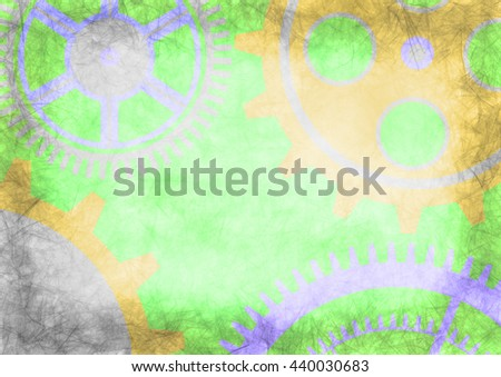 Hand drawn background with gear wheel in green colors. Abstract grunge background with mechanism of watch. Series of Drawn Grunge, Oil, Pastel, Chalk and Inc Backgrounds. - stock photo