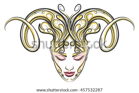 Hand drawn beautiful female face with ram horns .Illustration in tattoo style. Aries zodiac sign element. - stock photo
