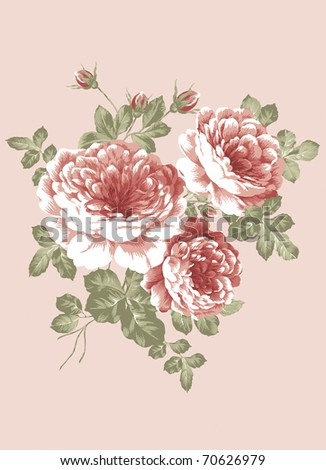 hand drawn - beautiful Rose bouquet design with Simple background - stock photo