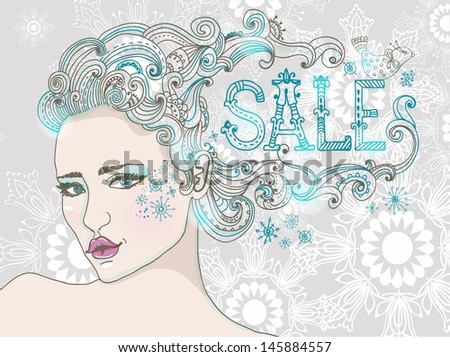 Hand Drawn Beautiful woman over snowflake, beautiful hair and word-SALE, winter sale illustration - stock photo
